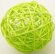 2 boules en osier vert anis (Dia. 6 cm)