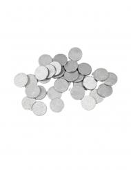 24 Confettis de table ronds argent 1,2 cm