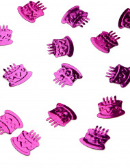 Confettis de table forme gâteau d'anniversaire fuchsia