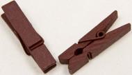 25 Pinces à linge en bois bordeaux