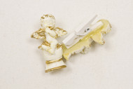 Sachet de 10 pinces à linge avec ange en résine ivoire/or