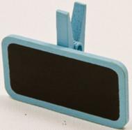 6 pinces à linge avec une mini ardoise bleu ciel