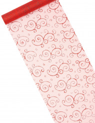 Chemin de table rouge en organza : motifs arabesques paillettes