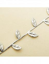 Guirlande ruban de feuilles argentée