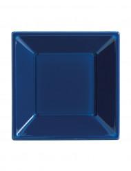 8 Assiettes Bleues carrées creuses en plastique 18 cm Modus Vivendi