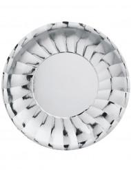 6 Assiettes plates Modus Argent rondes en carton 29 cm