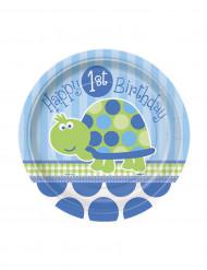 8 Petites assiettes en carton bleues First birthday