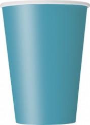 10 Gobelets bleu caraïbe en carton 355 ml