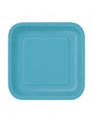 16 Petites assiettes bleu caraïbe carrées en carton 18 cm