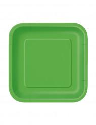 16 Petites assiettes carrées vert citron en carton 18 cm