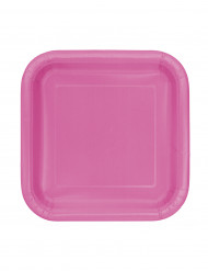 16 Petites assiettes roses carrées en carton 18 cm