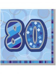 16 Serviettes en papier Age 80 ans bleues 33 x 33 cm