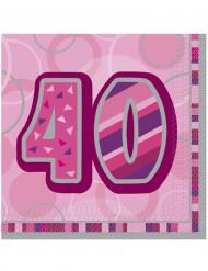 16 Serviettes en papier Age 40 ans roses 33 x 33 cm