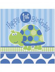 16 Serviettes en papier Bleues First birthday 33 x 33 cm