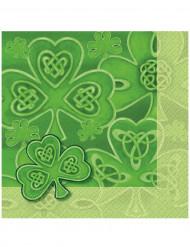 16 Serviettes en papier Trèfle de la St Patrick 33 x 33 cm