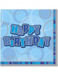 16 Serviettes en papier Happy Birthday bleu 33 x 33 cm