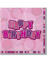 16 Serviettes en papier Happy Birthday roses 33 x 33 cm