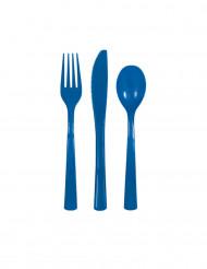 18 Couverts en plastique bleu