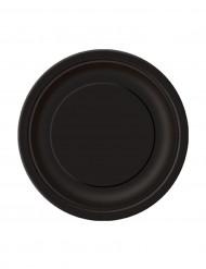 20 Petites assiettes noires en carton 18 cm