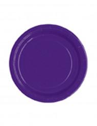 20 Petites assiettes violettes en carton 18 cm