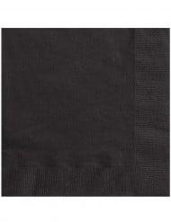 50 Serviettes noires en papier 33 x 33 cm