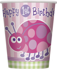 8 Gobelets en carton roses First birthday