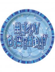 8 Assiettes en carton Happy Birthday bleu 23 cm