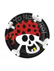 8 Petites assiettes en carton Pirate