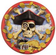 8 Petites assiettes en carton Pirate Tête de Mort