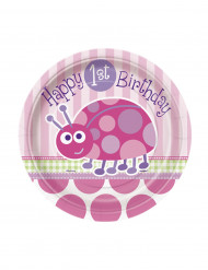 8 Petites assiettes en carton roses First birthday 18 cm