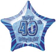 Ballon étoile bleu Age 40 ans