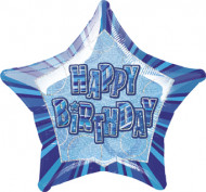 Ballon étoile bleu Happy Birthday