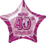 Ballon étoile rose Age 40 ans