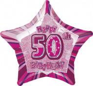 Ballon étoile rose Age 50 ans