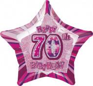 Ballon étoile rose Age 70 ans