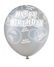 Ballons gris Happy Birthday