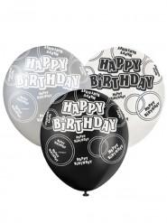 Ballons gris Happy Birthday