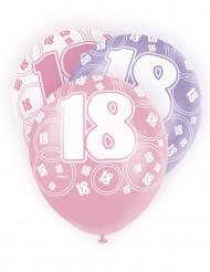 6 Ballons roses, blancs et violets 18 ans