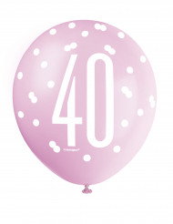 6 Ballons roses 40 ans