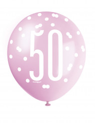 6 Ballons roses 50 ans