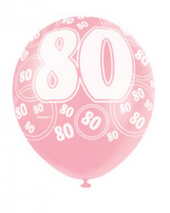 Ballons roses 80 ans