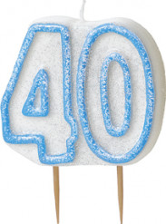 Bougie Age 40 ans bleu