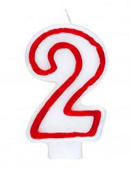 Bougie blanche au contour rouge chiffre 2