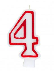 Bougie blanche au contour rouge chiffre 4