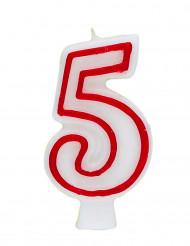 Bougie blanche au contour rouge chiffre 5