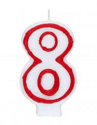 Bougie blanche au contour rouge chiffre 8