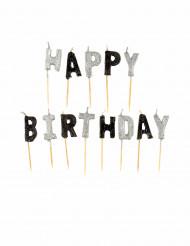 Bougies Happy Birthday grises