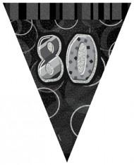 Guirlande Fanions gris Age 80 ans