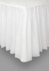 Jupe de table en plastique  blanche