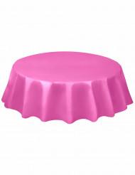 Nappe ronde en plastique rose 213 cm